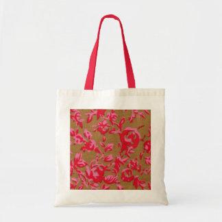 La bolsa de asas floral roja china de la tela del