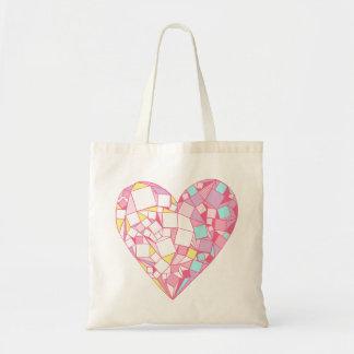 La bolsa de asas geométrica abstracta rosada del