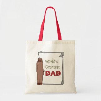 La bolsa de asas Golfing del mejor papá del mundo