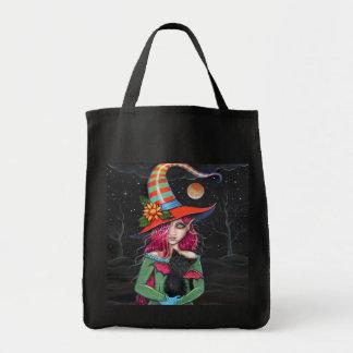 La bolsa de asas gótica del gato de la bruja de Ha