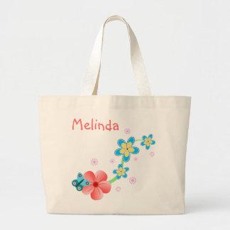 La bolsa de asas grande floral azul rosada de la