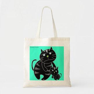 La bolsa de asas gruñona del gato negro del papá