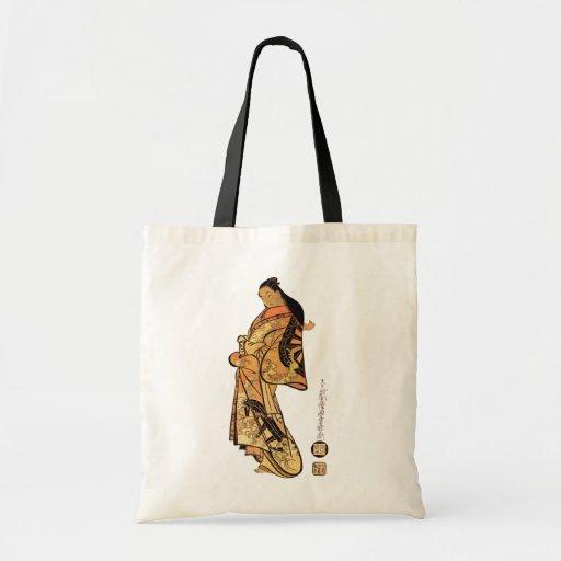 La bolsa de asas japonesa de la belleza del vintag
