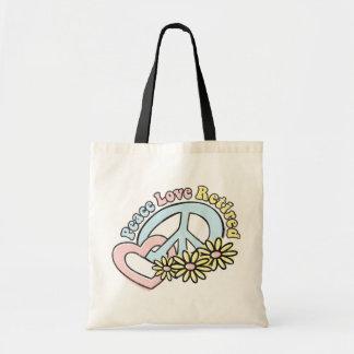 La bolsa de asas jubilada amor de la paz