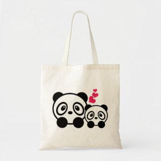 La bolsa de asas linda de 2 pandas
