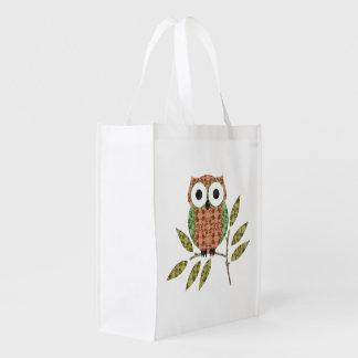 La bolsa de asas linda de los búhos bolsa reutilizable