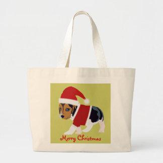 La bolsa de asas linda del navidad - perro en el j
