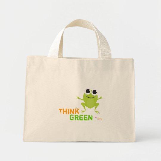 La bolsa de asas linda del verde de la rana
