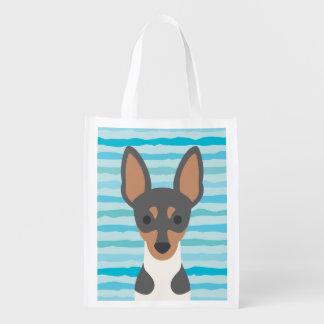La bolsa de asas lisa de Resusable del fox terrier Bolsas Para La Compra