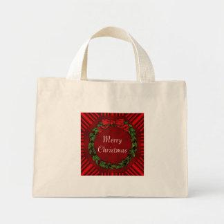 La bolsa de asas minúscula del algodón del navidad