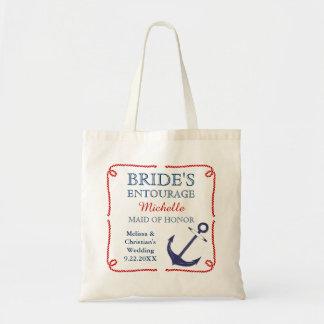 La bolsa de asas náutica del boda del ancla de la