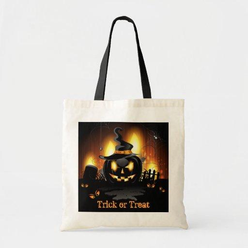 La bolsa de asas negra amenazadora de Halloween de