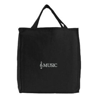 La bolsa de asas negra bordada de la música