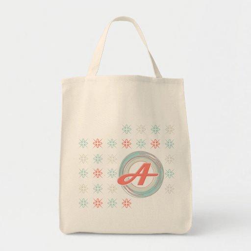 """La bolsa de asas orgánica con monograma de """"A"""""""