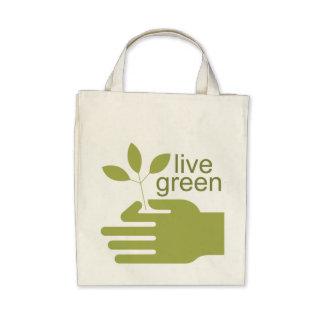 La bolsa de asas orgánica verde viva del ultramari