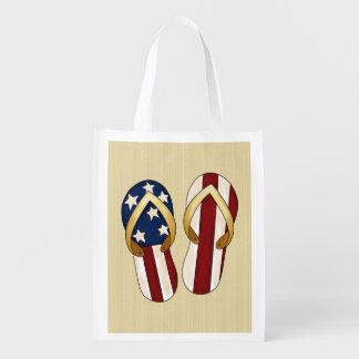 La bolsa de asas patriótica del día de fiesta de l bolsas para la compra