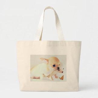 La bolsa de asas pequenita dulce de los perritos