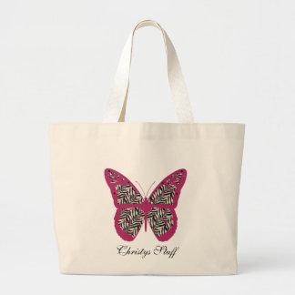 La bolsa de asas personalizada de la mariposa del