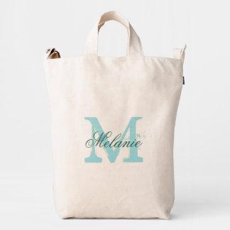 La bolsa de asas personalizada del monograma con bolsa de lona duck