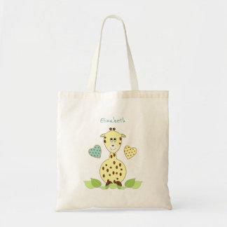 La bolsa de asas personalizada jirafa amarilla del