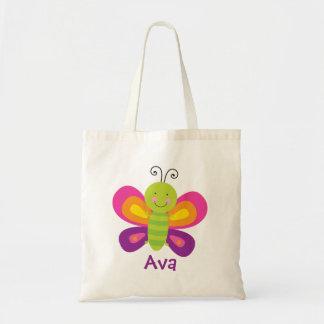 La bolsa de asas personalizada mariposa colorida