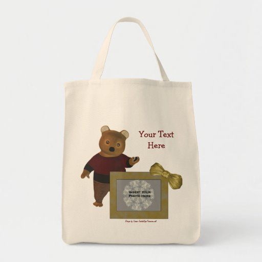 La bolsa de asas personalizada oso lindo de la fot