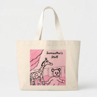 La bolsa de asas personalizada rosa del sitio de l