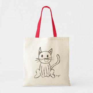La bolsa de asas pintada del gatito