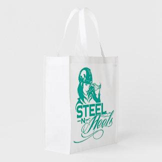 La bolsa de asas plegable por los talones de acero bolsas reutilizables