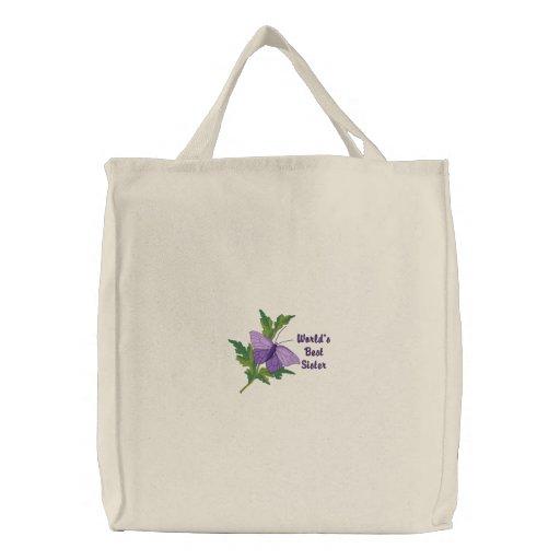 La bolsa de asas púrpura adaptable de la mariposa