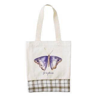La bolsa de asas púrpura de la mariposa de la bolsa tote zazzle HEART