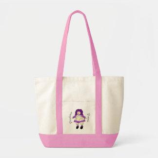 La bolsa de asas púrpura de la muñeca de trapo de