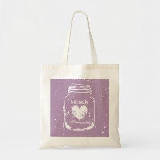 La bolsa de asas púrpura del boda del tarro de