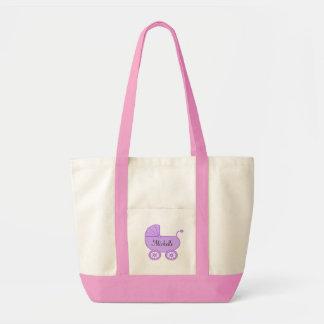 La bolsa de asas púrpura del pañal del carro del c