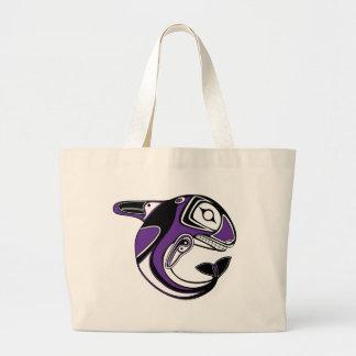 La bolsa de asas púrpura del tótem de la ballena