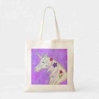 La bolsa de asas púrpura del unicornio