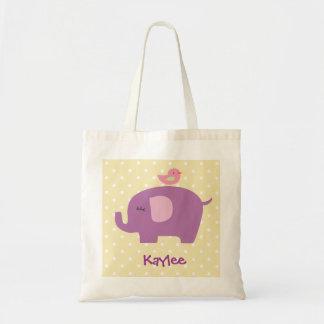 La bolsa de asas púrpura personalizada del elefant