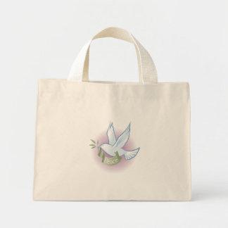 La bolsa de asas rayada de la paloma de la paz