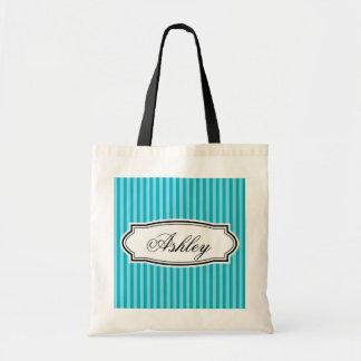 La bolsa de asas rayada personalizada de la dama