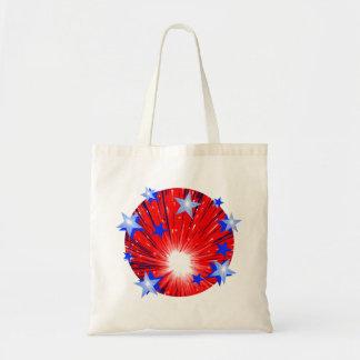 La bolsa de asas redonda azul blanca roja del fueg