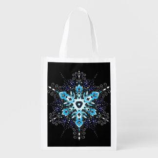 la bolsa de asas reutilizable del copo de nieve bolsa de la compra