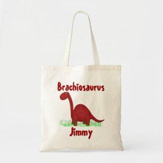 La bolsa de asas roja del dinosaurio del dibujo an