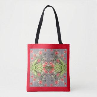 La bolsa de asas roja del fractal de la flor de la