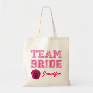 La bolsa de asas rosada de la novia del equipo