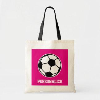 La bolsa de asas rosada del balón de fútbol para