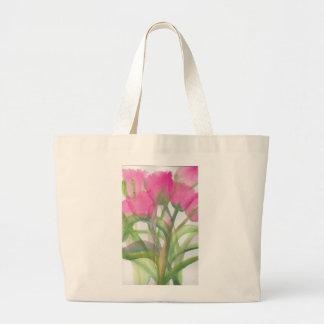 La bolsa de asas rosada del jumbo del tulipán