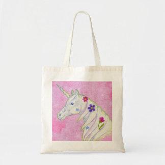 La bolsa de asas rosada del unicornio