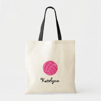 La bolsa de asas rosada del voleibol del monograma