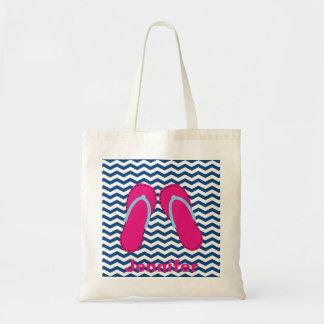 La bolsa de asas rosada personalizada de las
