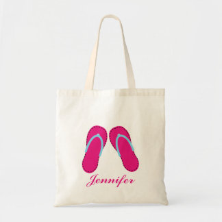 La bolsa de asas rosada personalizada de las sanda